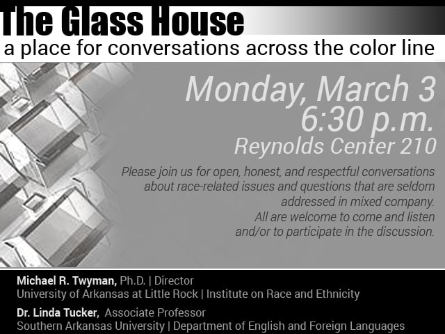 The Glass House: A place for conversations across the color line @ Reynolds Room 210