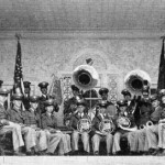 Magnolia A&M Band at armory's entrance, 1937 photo