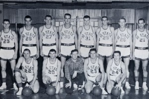 1957 Basketball Team. Front row, l. to r.: Jimmy Culp, Lynwood Cathey, Manager John Clary, J. W. Evers, Norris Fox. Back row: James Simmons, Steve Sheiron, Calvin Neal, George Kirtley, Frank Dolan, Jimmy Solomon, Douglas Dildy. Not pictured: Phil Arman, Bobby Kirtley, Bobby Staten photo