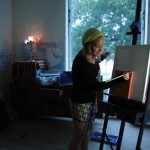 Art student using her residence hall studio