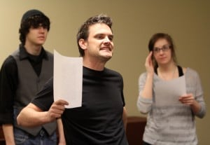 Clayton Guiltner teaches an acting class at SAU.
