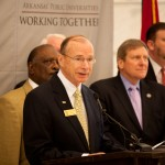 "SAU President Dr. David Rankin speaks at the press conference announcing the ""Compact with the People of Arkansas."""