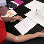 A genetics student practices mapping karyotypes after giving blood to map her own DNA.
