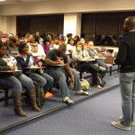 john Jones speaking to SAU Upward Bound students