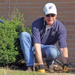 Lending a green thumb during the SAU Campus Clean up Day