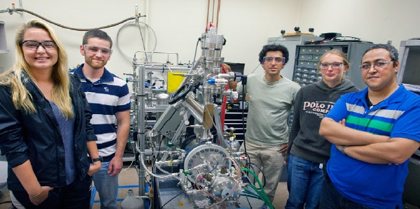 Dr. Abdel Bachri, right, with SAU students at the Lawrence Berkeley National Laboratory and Azriel Goldschmidt, third from right, a nuclear scientist at Berkeley Lab.