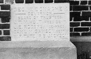 Photo: The Corner Stone of Old Main, dedicated in 1910. Courtesy of Southern Arkansas University Archives, Magnolia, Arkansas.