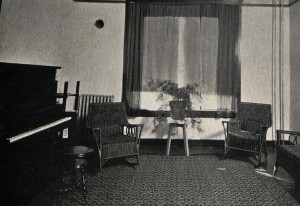 Photo: Reception room in Jackson Hall in 1923. There, young men had to meet the dean of women before taking a co-ed on a date to walk about campus on a Sunday afternoon. Courtesy of Southern Arkansas University Archives, Magnolia, Arkansas.