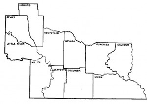 The southwest Arkansas territory of the AAS-SAU Research Station: Calhoun, Columbia, Hemsptead, Howard, Lafayette, Little River, Miller, Nevada, Ouachita, Sevier, & Union Counties.