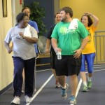 Faculty and staff utilize the indoor track in the Mulerider Activity Center