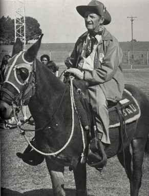T. O. Hamacker, an SSC alumnus, on his mule at 1982 Mulerider game. photo