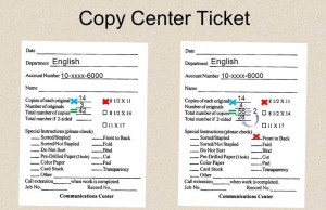 Example copy ticket