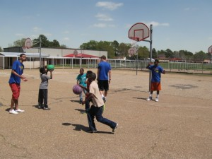 Shooting hoops with the class