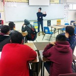 Villagomez speaking at elementary school in Calif.