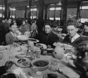 "Diners at TDAS cafeteria with food served ""family style"" photo"
