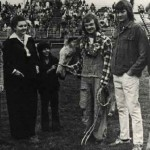 dolphus poses as Imonaggie. Eddie Parham holds the mule; Mary Ann Peace, second from left. photo