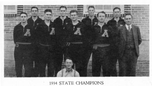 1934 Basketball Champs and Coach Ves Godley photo