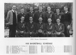 1935 Basketball Champs and Coach Ves Godley photo