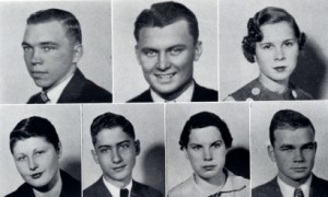Student Council, 1936-37. Top. l. to. r.: Russell Lewallen, David Jackson, Gwendolyn Couch. Bottom, l. to r.: Ruth Fell, Oliver Clegg, Louise Powell, David Butcher photo