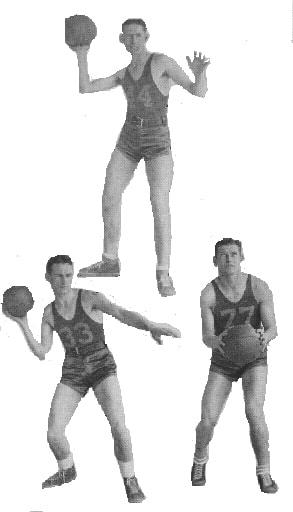 "Photo: Alton ""Jack"" Wilson, center; left: Peter Turner, guard; right: Bo McAlister, forward"
