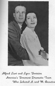 "Alfred Lunt and Lynn Fontaine who ""selected"" A&M beauties in 1939 photo"