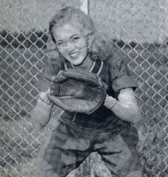 Kathryn Brown, the catcher, in 1949 photo