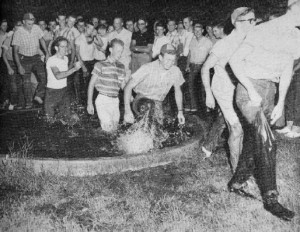 Freshman Initiation at a Gold Fish Pond in 1959 photo