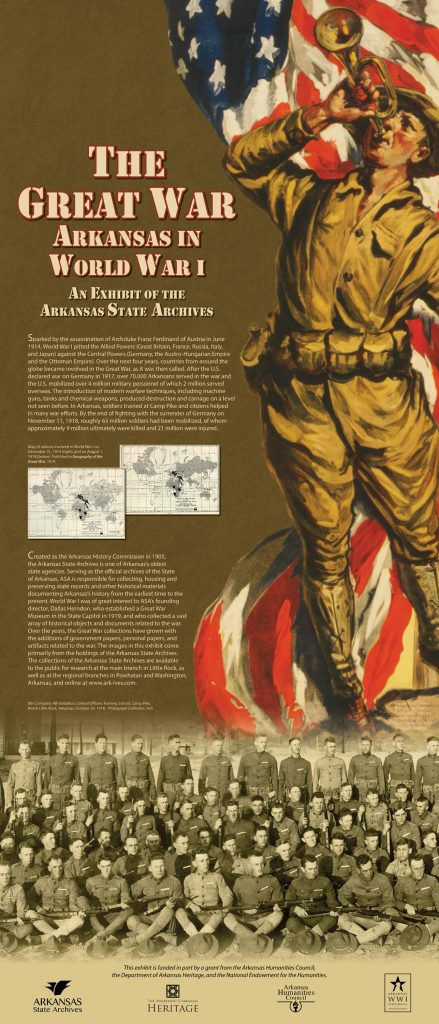 The Arkansas History Commission offers The Great War: Arkansas in World War I and other traveling exhibit at no cost to educational and cultural institutions in Arkansas. Image courtesy of the Arkansas State Archives.