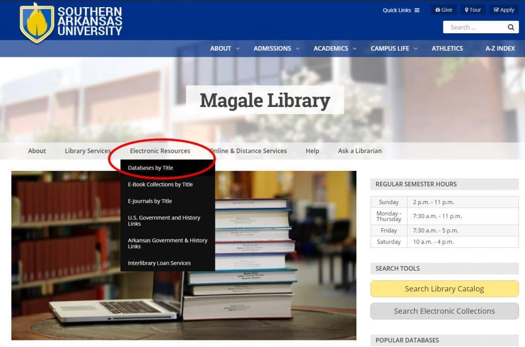 Library Homepage screenshot
