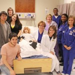 Theatre students, left, have been visiting nursing classes this semester for a new collaboration between the two departments to create hospital-like experiences for the nursing students.