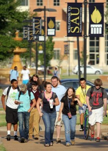 SAU students on first day of fall 2013 semester
