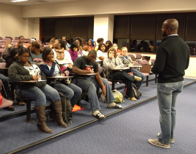 John Jones of University of Arkansas speaks to SAU Upward Bound