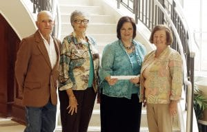 Quota International of Magnolia signed an endowment agreement and presented a check to the SAU Foundation on April 14, 2016. Pictured, from left, are Charles Hayes, husband of the late Norma Hayes; Quota member Lu Waters and Quota President Pam Schulz; and Jeanie Bismark of the SAU Foundation.