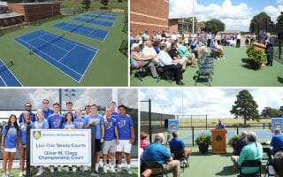 SAU opens renovated tennis courts, honors family with naming of Championship Court